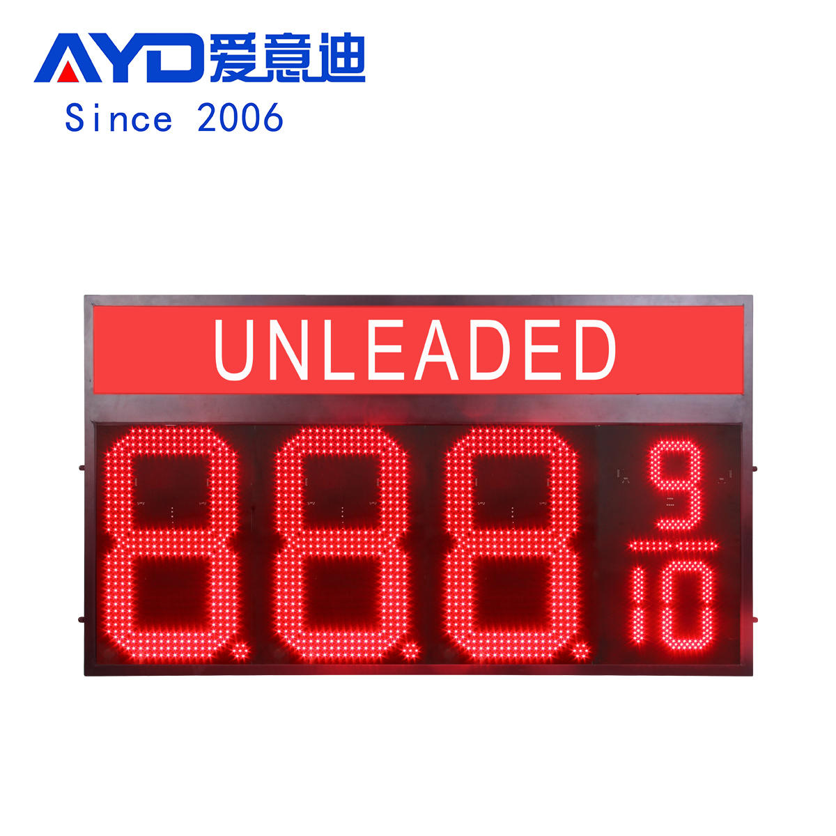 Unleaded Led Gas Station Sign:GAS24Z8889R-UNLEADED